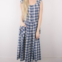 Vintage 80s Plaid Maxi Dress