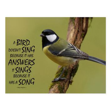 Animal Image Quote Postcard - A Bird Sings