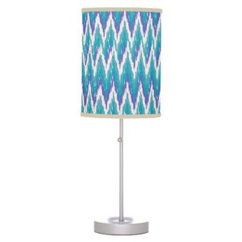 iKat Teal and Purple ZigZag Table Lamps