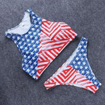 ONETOW Stars and Stripes Bikini Swimsuit Unique