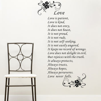 Large Size Love Is Patient Love Is Kind White Brown Art Vinyl Bible Verses Wall Quote Sticker