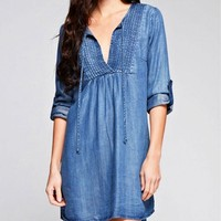 Denim Shift Dress with Pintucked Yoke