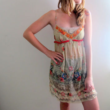 Vintage Free People Slip Dress Flowers Floral Print Hippie Boho Bohemian See Through Thru Gypsy Off White