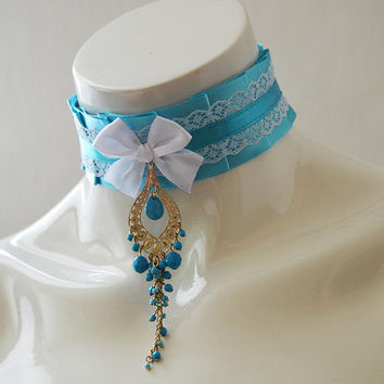 Harajuku choker - Queen of the sky - little princess collar - kawaii cute fairy kei harajuku white lace turquoise blue - kitten play ddlg