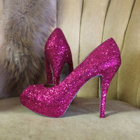 Custom made to order, open toe Glitter high heels. Hot pink glitter pumps. Bridal shoes. Sizes 5.5-11