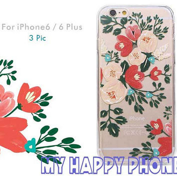 White Pink Red Flowers iPhone 6 Case Tree Blossom iPhone 6 Plus Transparent Soft Case Cover Clear iPhone 6s Case Floral Print Phone Shell
