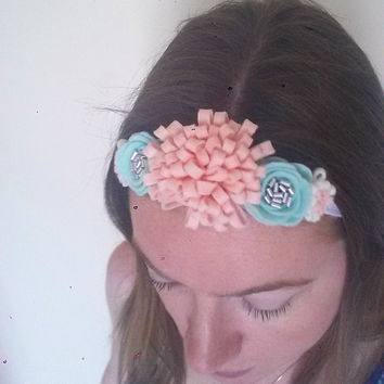 Felt flower crown - mint felt roses - pink flower - summer headband - summer hair bows - flower hair garland - flower hair wreath