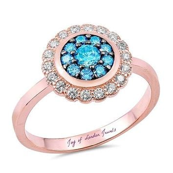 14K Rose Gold Blue Topaz Russian Lab Diamond Halo Floral Ring