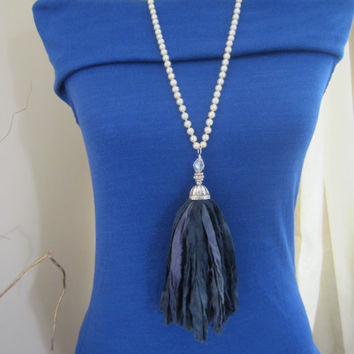 Silk Tassel Necklace, Pearl Necklace, Hand Knotted, Charcoal Silk Tassel, Boho Glam Necklace Long Beaded Necklace, Bohemian Rustic Jewelry