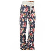 Navy Floral Lounge Pants(Preorder)