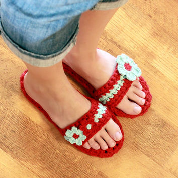 Instant Download  Crochet Pattern  Pammy Sandals with by Mamachee