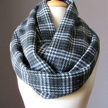 Glen plaid grey scarf,  chunky scarf, winter scarf, mens scarf, unisex scarf, oversized infinity scarf, Charcoal Grey scarf