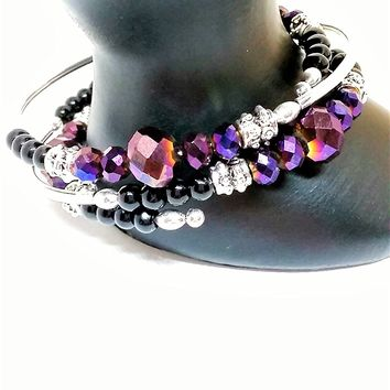 Black and purple beaded memory wire wrap bracelet.