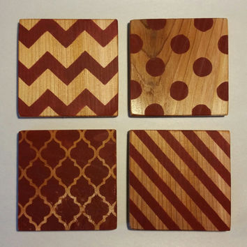 Painted Wood Coasters, Chevron Wood Coasters, Polka Dots Wood Coasters, Quatrefoil Wood Coasters, Striped Wood Coasters, Assorted Coasters