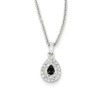 1/4 Cttw Black & White Diamond Teardrop Necklace in Sterling Silver