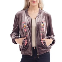Velvet Embroidered Bomber