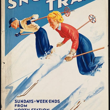 Winter Sale Boston, Maine Snow Train, Ski Vacation   : Vintage Travel Poster Print