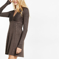 deep-v ribbed fit and flare sweater dress