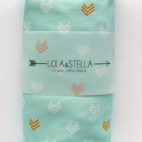 Organic baby blanket in mint and gold chevrons, organic swaddle blanket, organic crib blanket, organic baby blanket, baby blanket, swaddling
