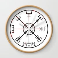 Vegvísir Wall Clock by mailboxdisco
