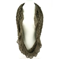 Wide Thin Knit Chain Circle Loop Eternity Scarf Charcoal Gray