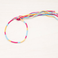 Friendship Bracelet Pink, Turqiouse, and Yellow Embroidery Threads Stocking Stuffer