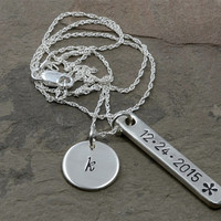 Personalized Bar Necklace with Dainty Disc Charm in Sterling Silver