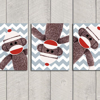 Nursery Art Print Set  Sock Monkey  8x10 by DeliveredByDanielle