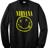 Nirvana Smiley Face inspired Sweatshirt Nirvana Crewneck Smiley Face Kurt Cobain Nirvana inspired Rock Band for Men and Women