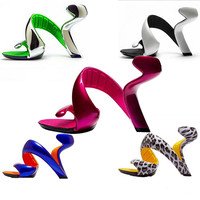 Valentine's Day Gift Unique Design Special Shaped Nongrounded High Heel Shoes Star Fashion High Heeled Sandals Wedding Shoes