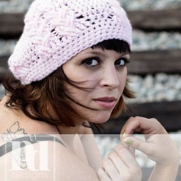 Ladie's Double Braided Slouchy Hat  Crochet PDF Pattern