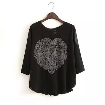 Summer Korean Plus Size Mosaic Slim Long Sleeve Round-neck Tops T-shirts [6047747009]