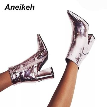 Aneikeh Women's Autumn Boots PU Leather Pointed Toe Square Heel Rubber Boots Fashion High Heel Women Shoes Silver Size 34-40
