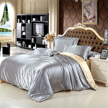 Cool 100% Natural Silk Bedding Set With Duvet Cover Bed Sheet Pillowcase Luxury 4pcs Satin Bedding Bed Linen King Queen Twin SizeAT_93_12