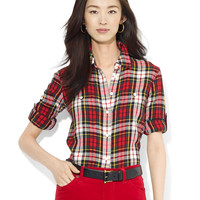 Women's Apparel | New Arrivals | Petite Plaid Roll-Tab Work Shirt | Lord and Taylor