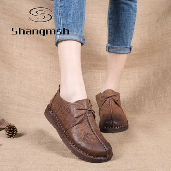 Shangmsh Genuine Leather Flat Shoe Pregnant Women Shoe Mother Driving Shoe Female Moccasins Women Flats Hand-Sewing Shoes