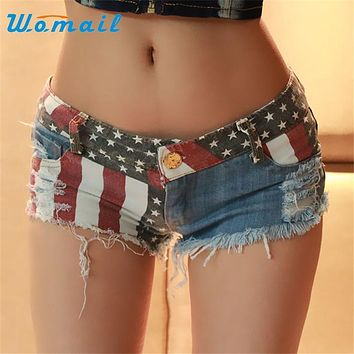 Denim Shorts Hot Marketing Women Sexy American US Flag Mini Shorts Low Waist Jeans Hot Pants Denim Drop Shipping Free Shipping