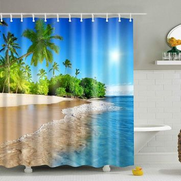 180*180 CM SPA Waterproof Shower Curtain Digital Printing Bathroom Decoration Shocking Landscape Shower Curtains High-quality