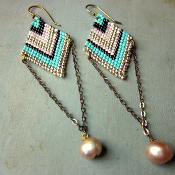 Brick Stitch Earrings with Freshwater Pearl and Chain Dangles - Mermaid Earrings - Bead Weaving Jewelry