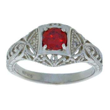 Garnet & Diamond Round Ring .925 Sterling Silver
