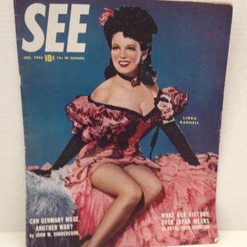 See Magazine 1946 January Linda Darnell WWII Japan Germany