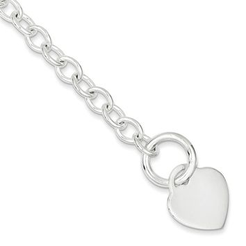 Sterling Silver 7mm Heart Disc Toggle Bracelet
