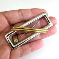 "Vtg 1980s Monet Geometric 2 Tone Modernist Brooch Pin Big 2.75""L"