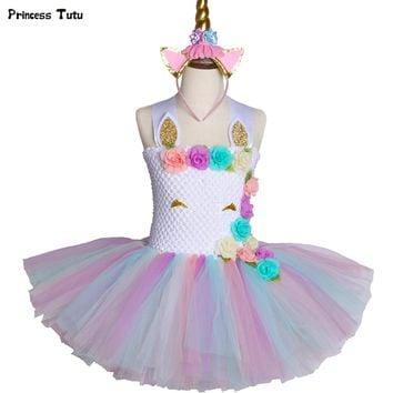 Pastel Unicorn Tutu Dress Princess Tulle Flower Girl Birthday Party Dress Children Unicorn Clothes Kids Girls Halloween Costume