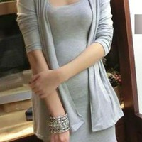 Solid Color Two Piece Skirt Suit