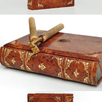 Handmade leather journal - Antique marbled style, 6x8 inch (15x20 cm) in gift box