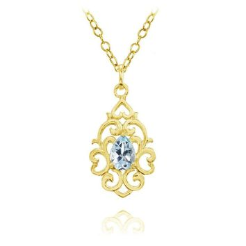 Filigree Heart Blue Topaz Teardrop Necklace in Gold Plated Sterling Silver