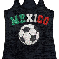 Mexico Futbol Soccer Sparkly Glitter Burnout Racerback Tank Top Really Shiny COPA AMERICA  2016 Add Name and Number on the Back Viva Mexico