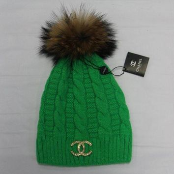 DCKKID4 Chanel' Women Embroidery Beanies Knit Hat Warm Woolen Hat