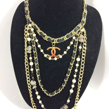 Multi Strand Leather Pearl Stone Gold Necklace (Handmade)